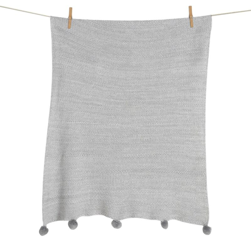 KNITTED BLANKET WITH POMPOM - SOFT GREY