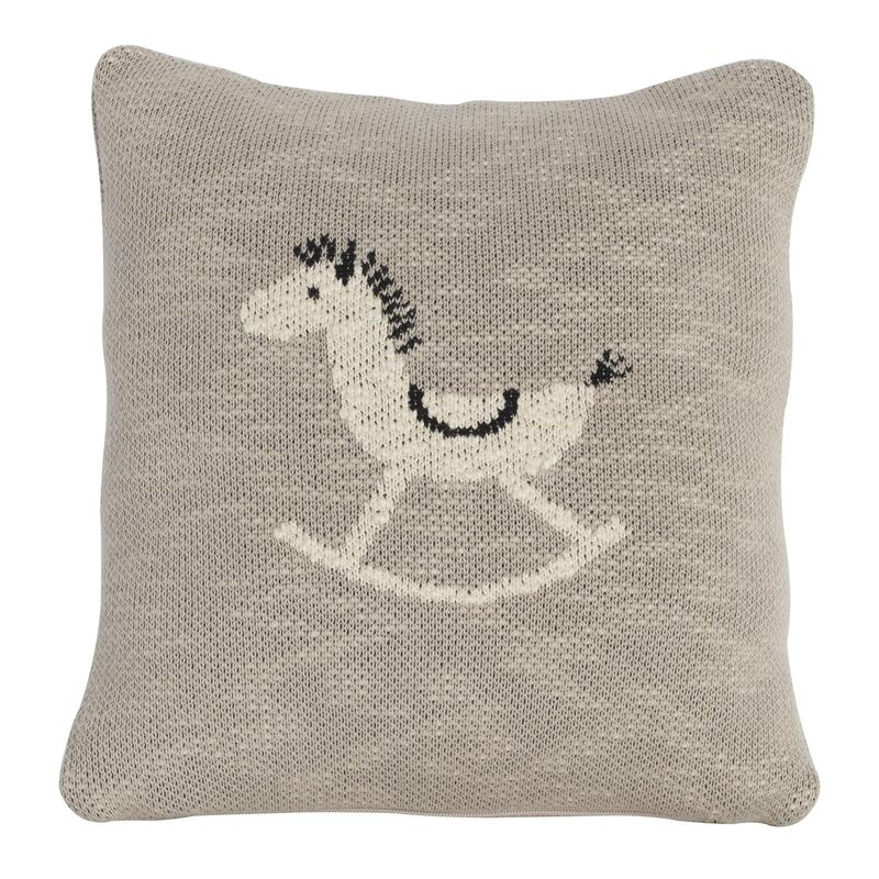 KNITTED CUSHION - 30*30 CM - ROCKING HORSE