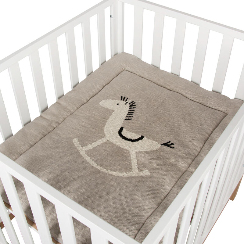 KNITTED PLAYPEN MAT - ROCKING HORSE