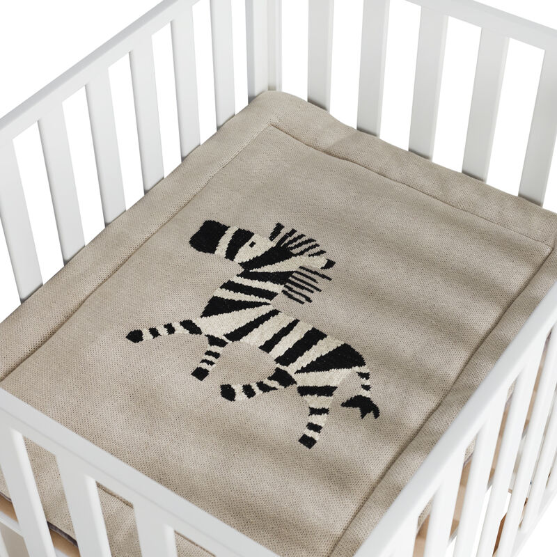 KNITTED PLAYPEN MAT - ZEBRA